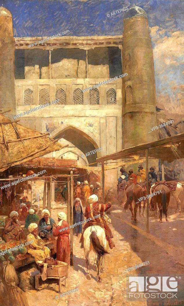 Stock Photo: Roubaud Franz - Oriental Market - Russian School - 19th Century.