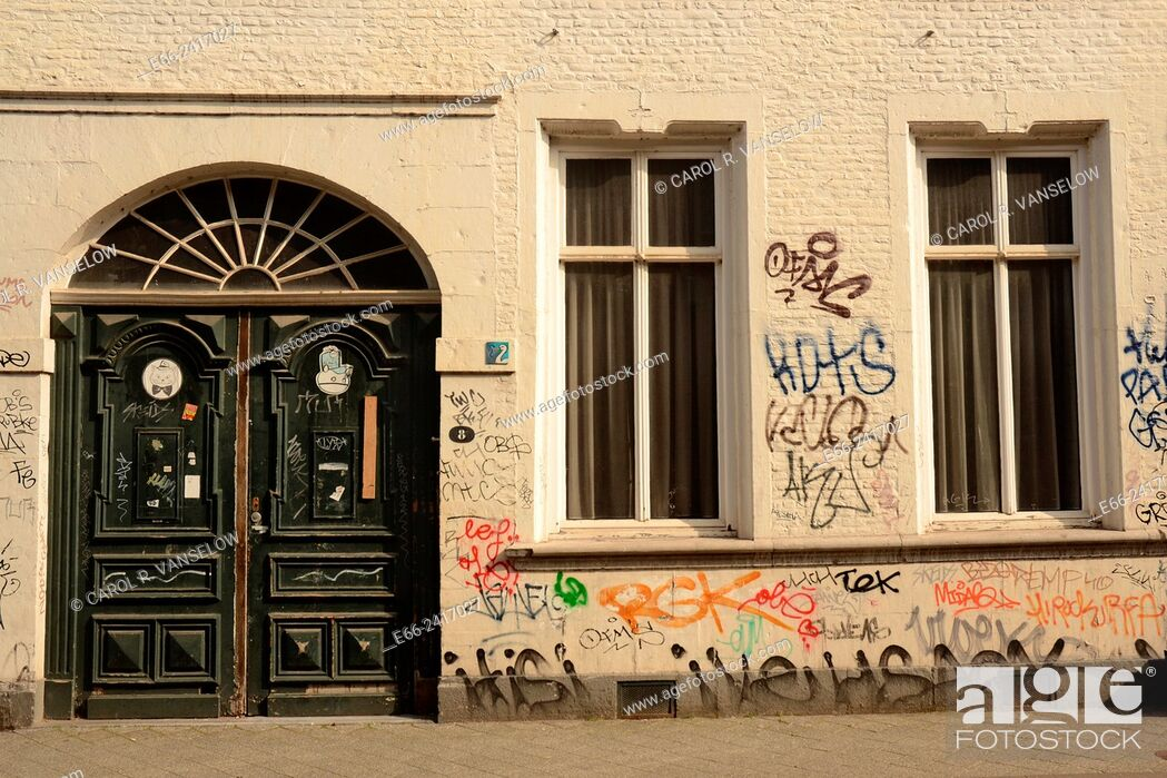 Stock Photo: Graffiti on a building on the Bredestraat in Maastricht.