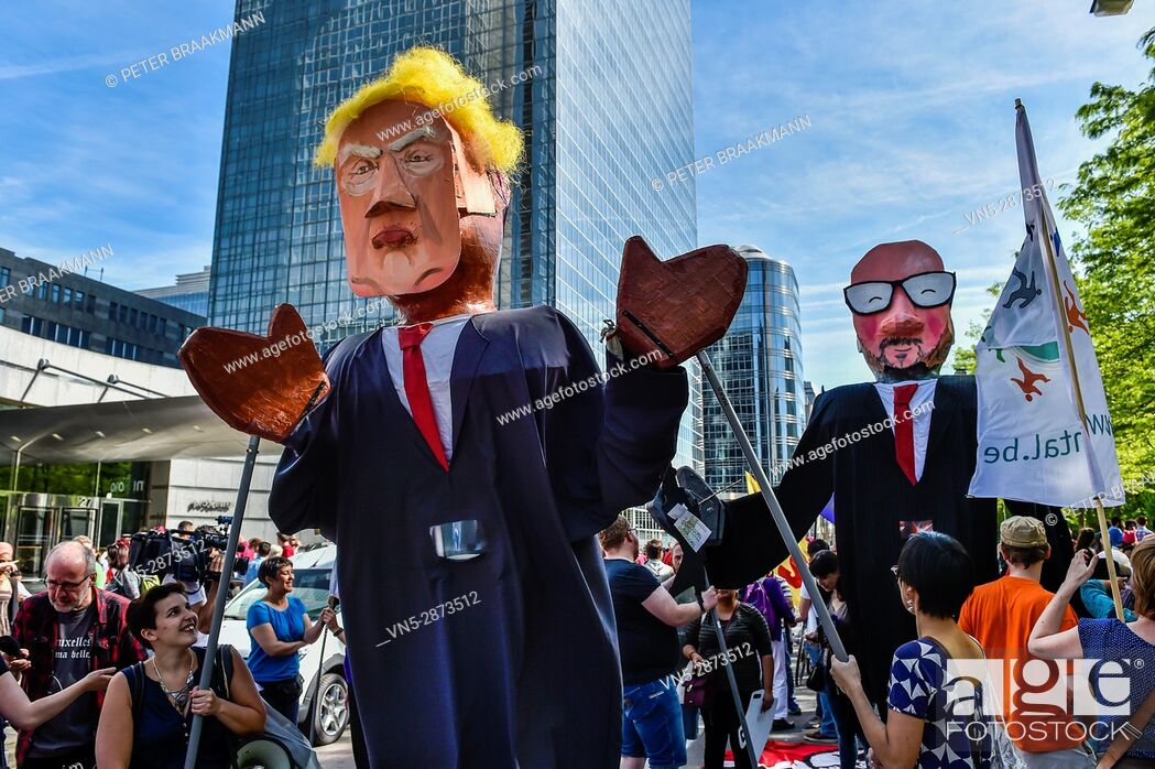 Imagen: Brussels - Belgium - 24-05-2017 - Protestmars Trump not welcome in Brussels.