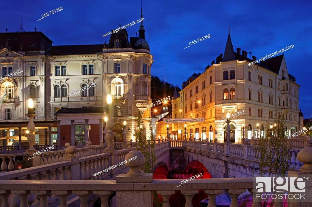 Stock Photo: Ljubljana, Triple Bridge, Ljubljanica river, Slovenia.