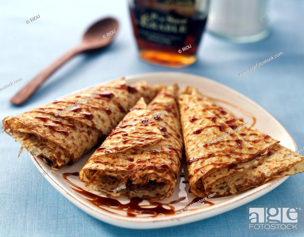 Stock Photo: Pancakes with maple syrup.