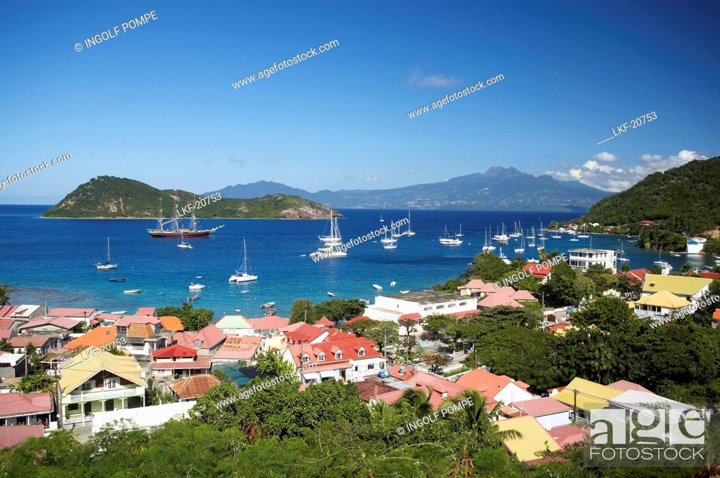 Stock Photo: Aerial view of Terre-de-Haute, Les Saintes Islands, Guadeloupe, Caribbean Sea, America.