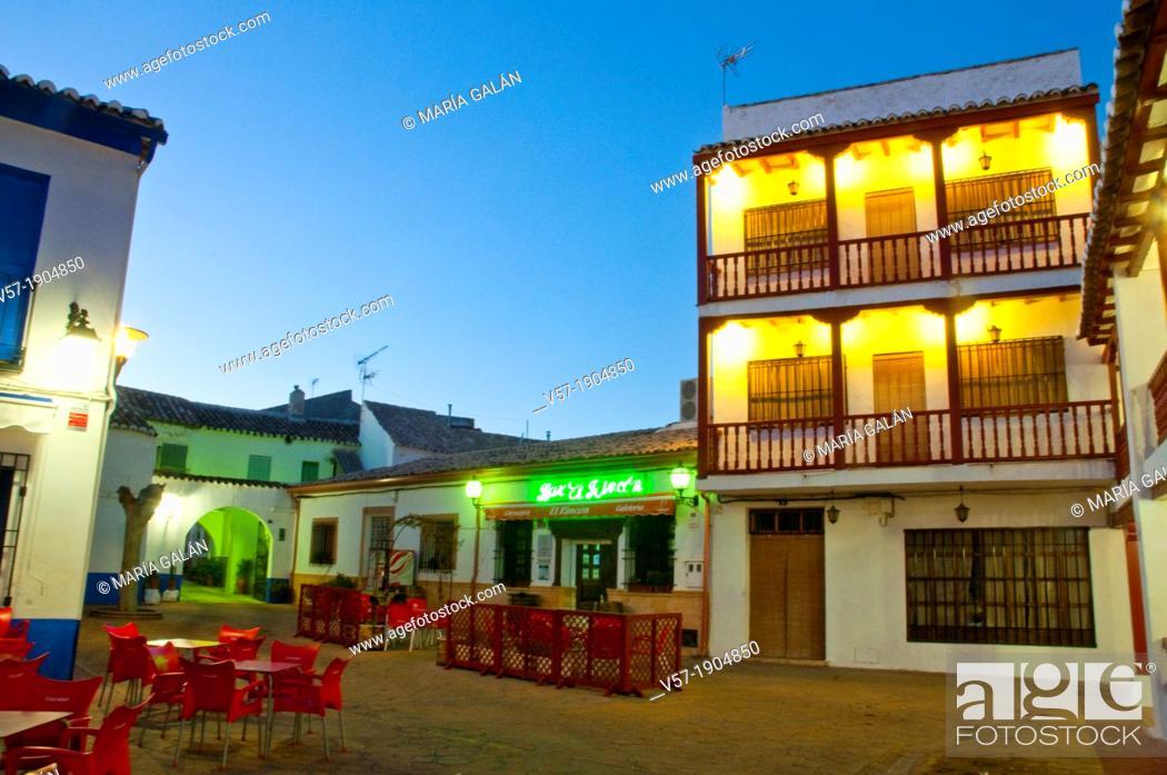 Stock Photo: Small square, night view. Puerto Lapice, Ciudad Real province, Castilla La Mancha, Spain.