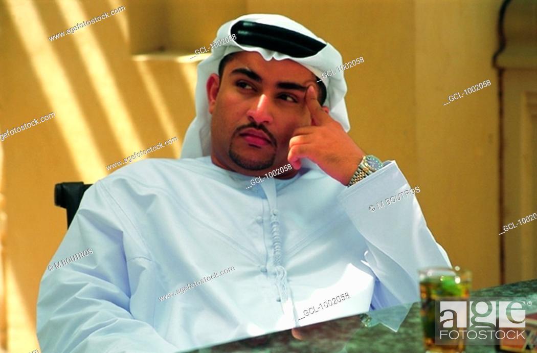 Stock Photo: Arab man thinking.