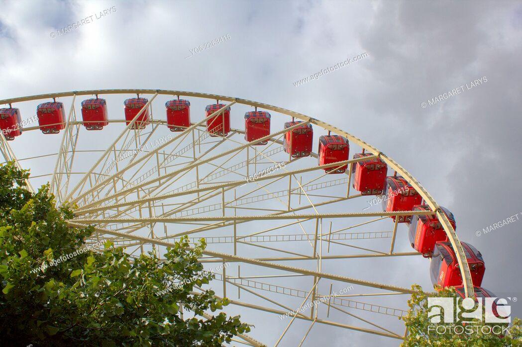 Stock Photo: Big wheel in Edinburgh, during the summer and festival, Scotland.