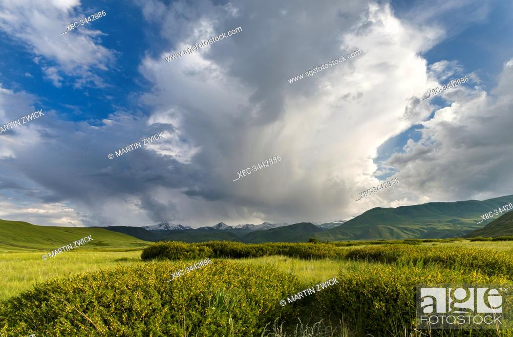 Imagen: A thunderstorm is developing. The Suusamyr plain, a high valley in Tien Shan Mountains. Asia, central Asia, Kyrgyzstan.