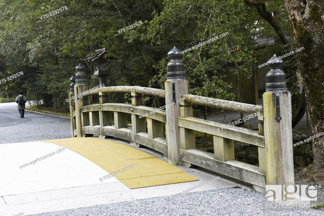 Stock Photo: A bridge in Ise Jingu shrine, Japan, Asia.