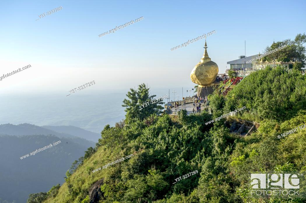 Stock Photo: Myanmar (formerly Burma). Kyaiktiyo. State Mon. Sacred site of the golden rock.