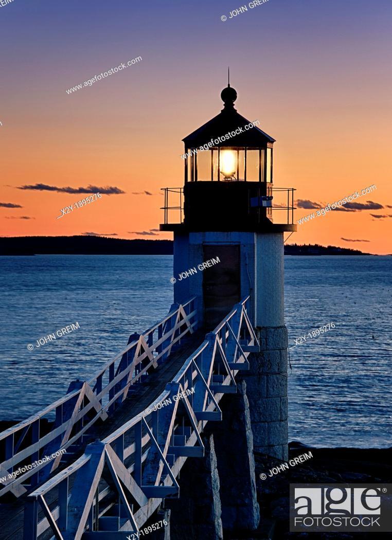Stock Photo: Marshall Point Lighthouse, Port Clyde, Maine, USA.