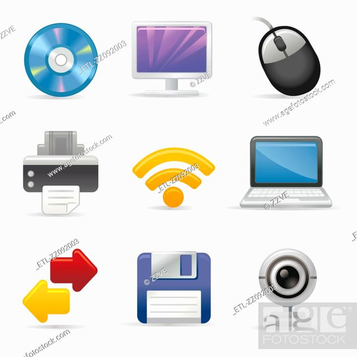 Stock Photo: Input and output device icon set.