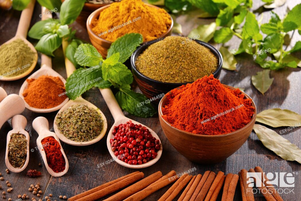 Stock Photo: Variety of spices on kitchen table.