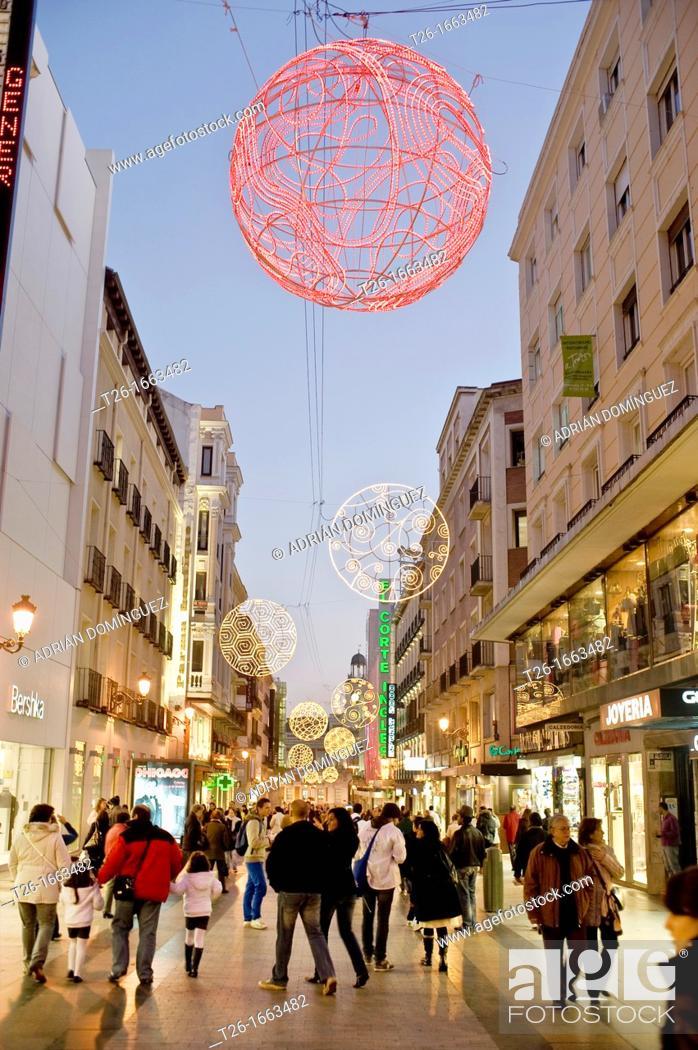 Stock Photo: Preciados street on christmas in Madrid, Spain.