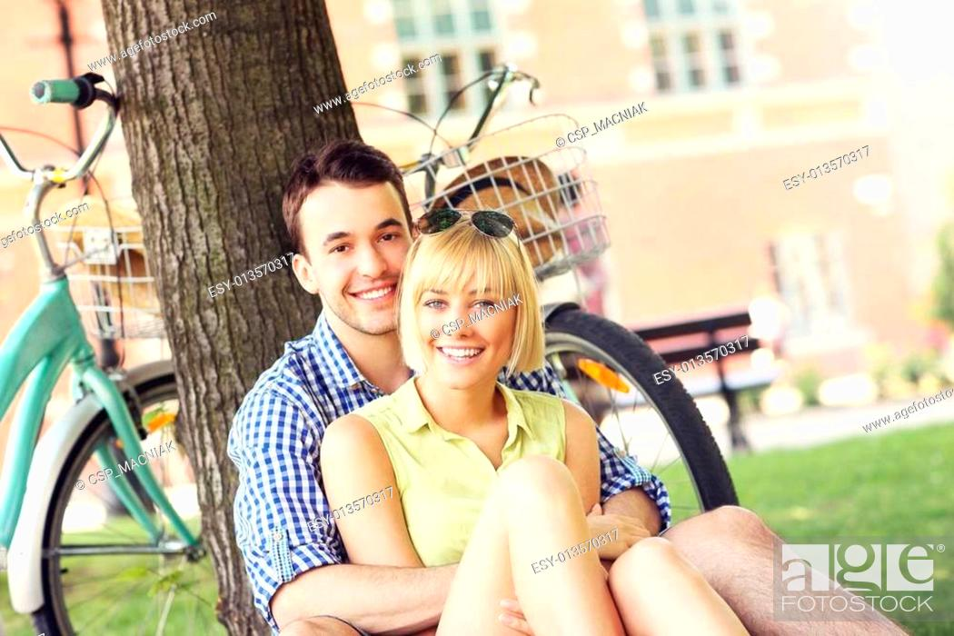 Stock Photo: Happy couple resting in the park.
