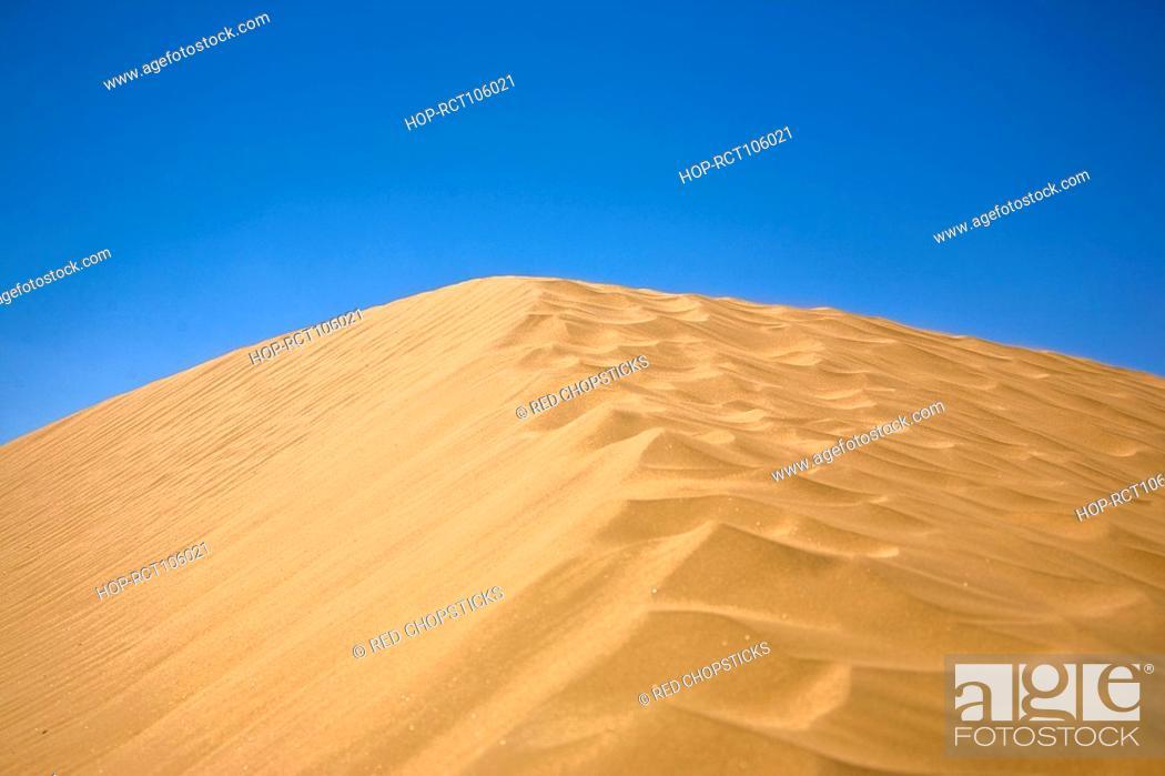 Stock Photo: Sand dunes in a desert, Kubuqi Desert, Inner Mongolia, China.