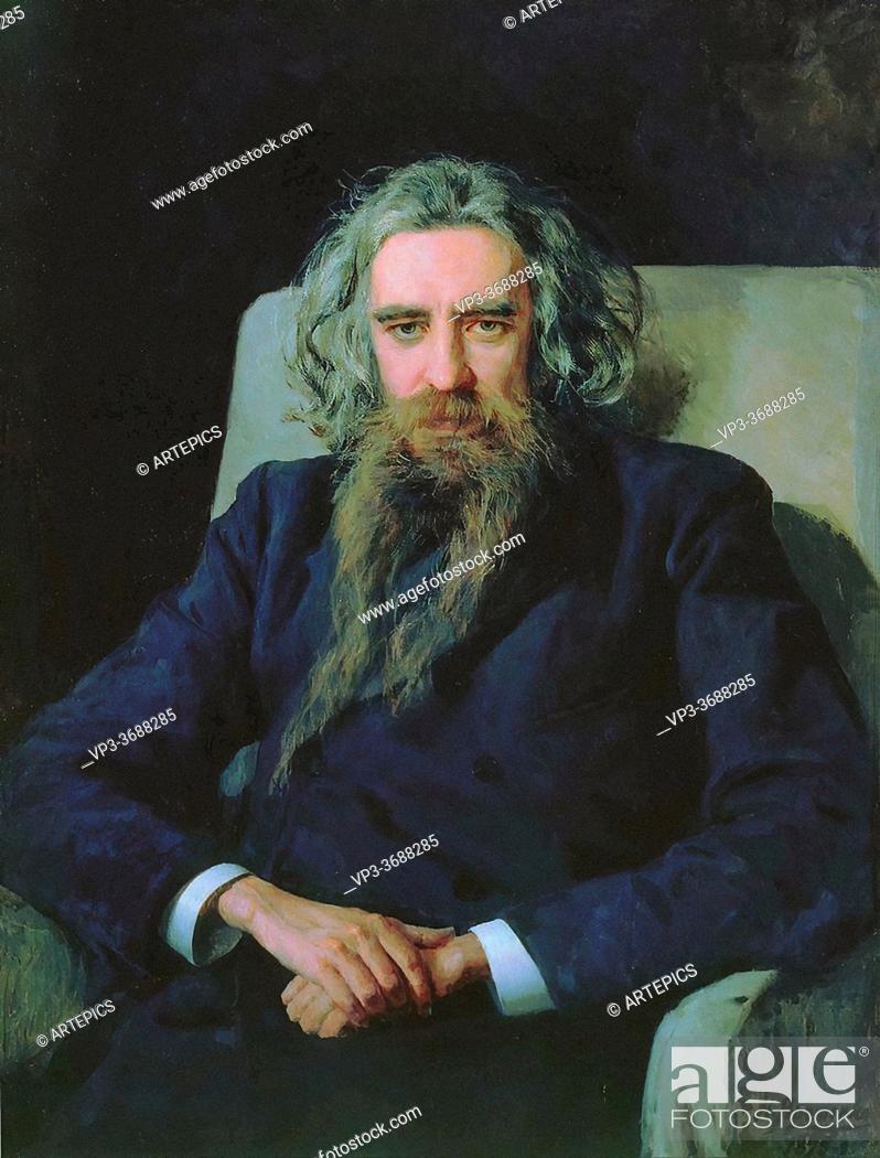 Stock Photo: Yaroshenko Nikolai - Portrait of the Philosopher Vladimir Solovyov - Russian School - 19th and Early 20th Century.
