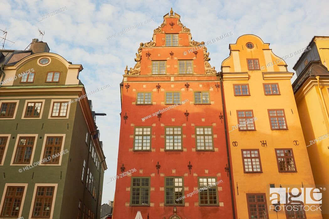 Stock Photo: Houses in Stortorget the main square of Gamla Stan, Stockholm's old town, Sweden, Scandinavia.