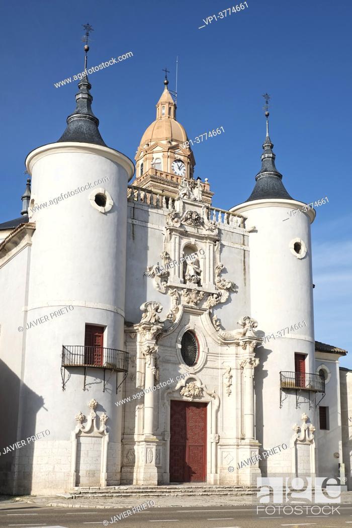 Stock Photo: Church of Santa María de la Asunción, in Rueda. Road to Santiago del Sureste as it passes through the province of Valladolid. Castile and Leon. Spain.