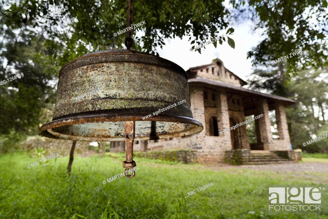Stock Photo: Debre Berhan Selassie Church in Gonder  Bell made from a rim of a truck  Debre Berhan Selassie Church is considered to be the most beautiful example of.