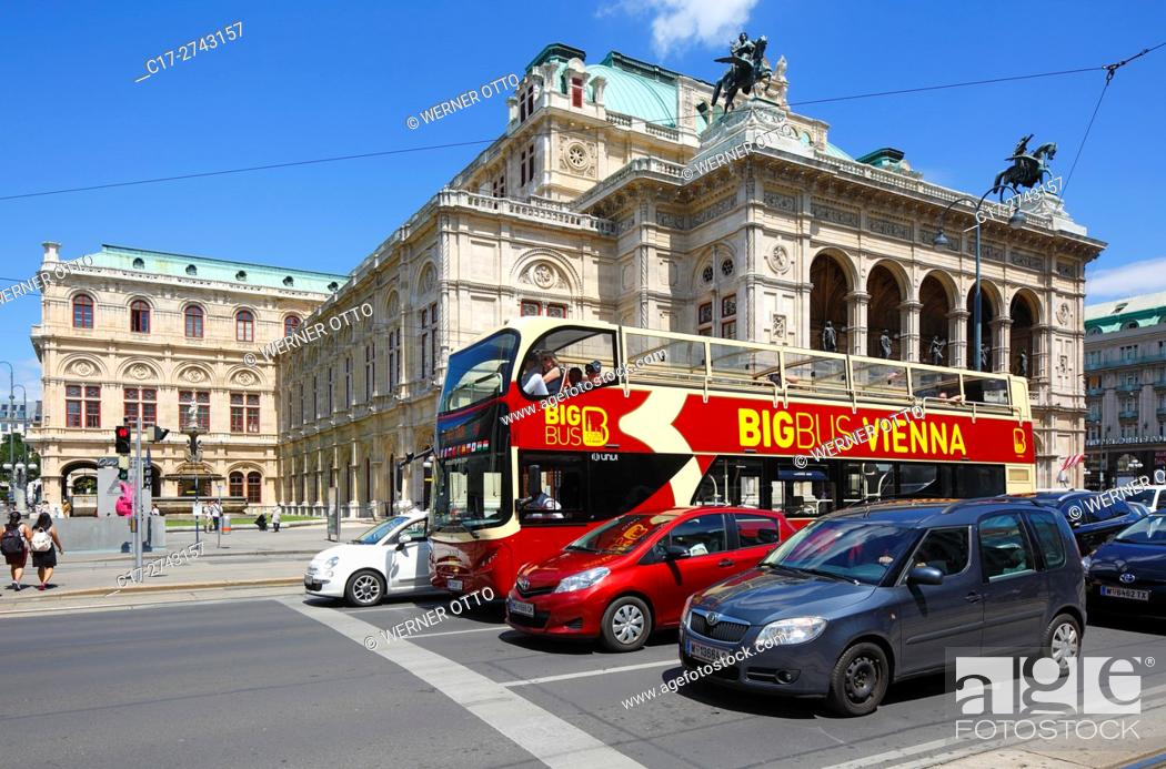 Stock Photo: Austria, A-Vienna, Danube, Federal Capital, Vienna State Opera at the Opernring, Vienna Ring Road, traffic, motorcars, double-decker bus, guided city tour.