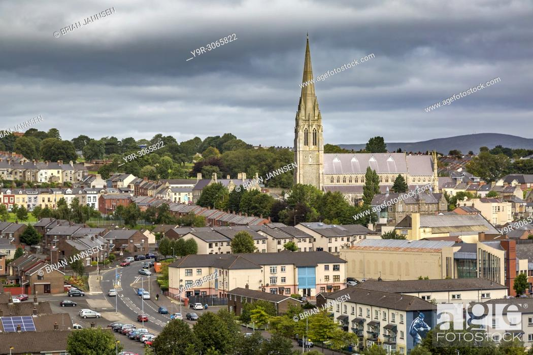 Stock Photo: St Eugene's Cathedral and town of Londonderry/Derry, County Derry, Northern Ireland, UK.