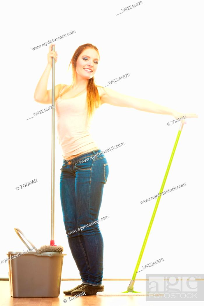 Funny cleaning woman mopping floor, Stock Photo, Picture And