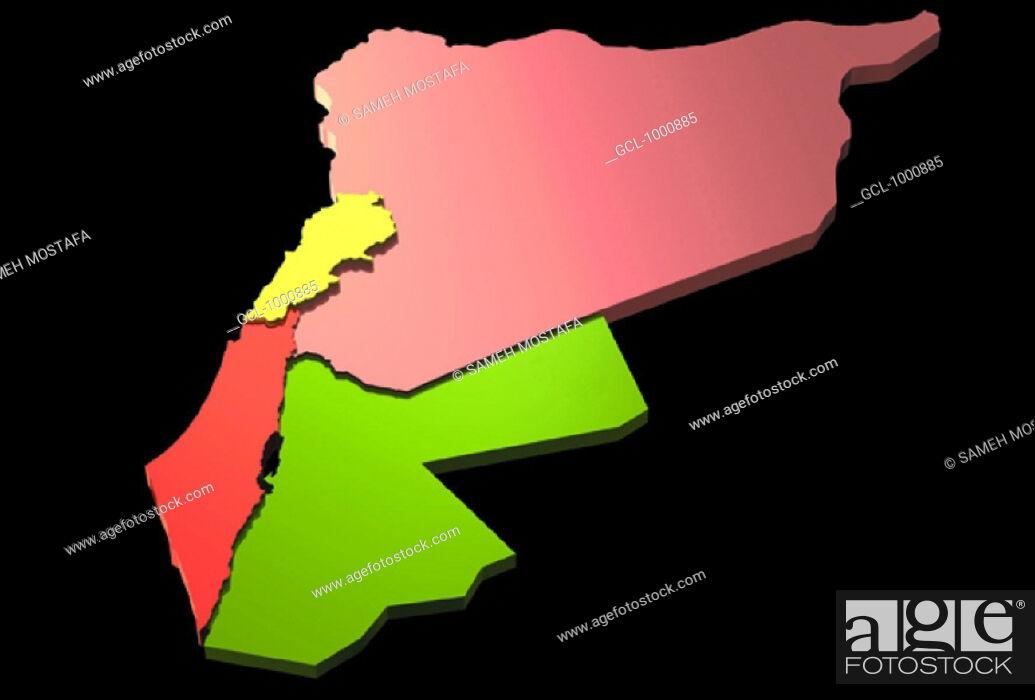 Stock Photo: map of Jordan, Syria, Palestine and Lebanon.
