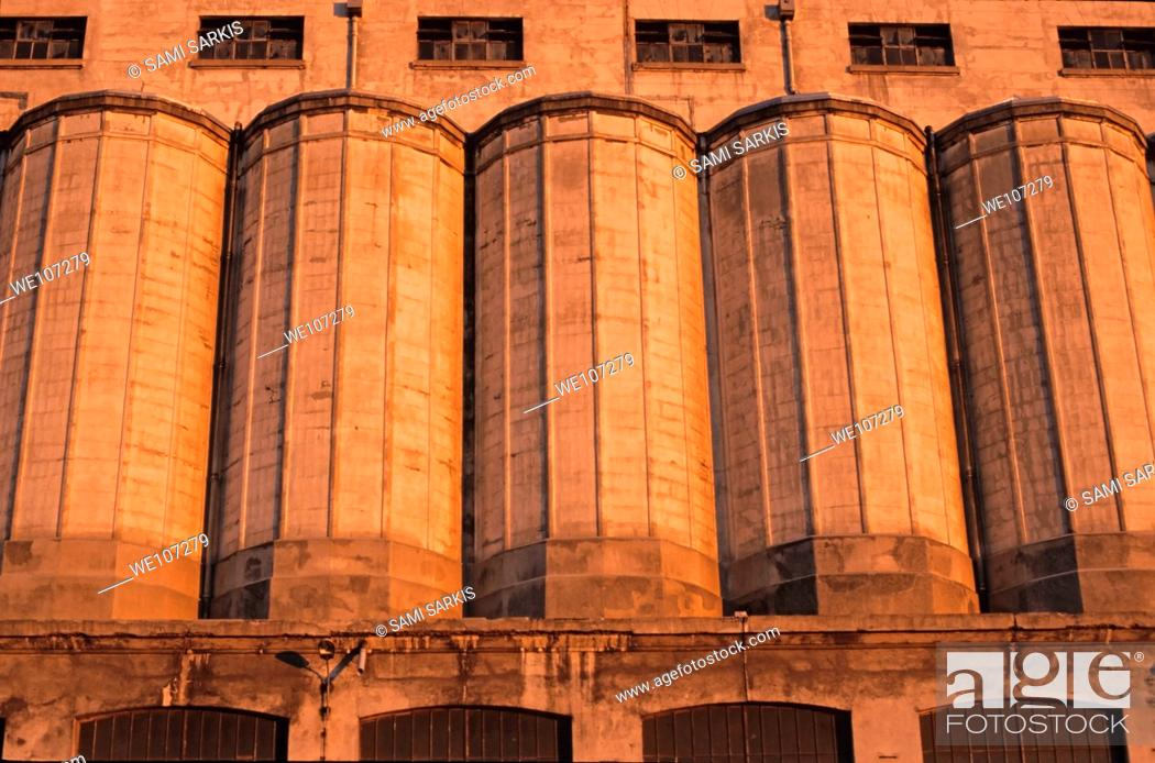 Stock Photo: Grain silos at sunset, Marseille, France.