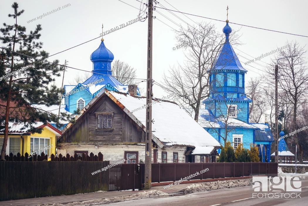 Stock Photo: Orthodox church of Exaltation of the Holy Cross in Narew village, Hajnowka County in Podlaskie Voivodeship of northeastern Poland.