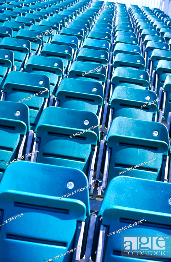 Stock Photo: Empty grandstand seats up.