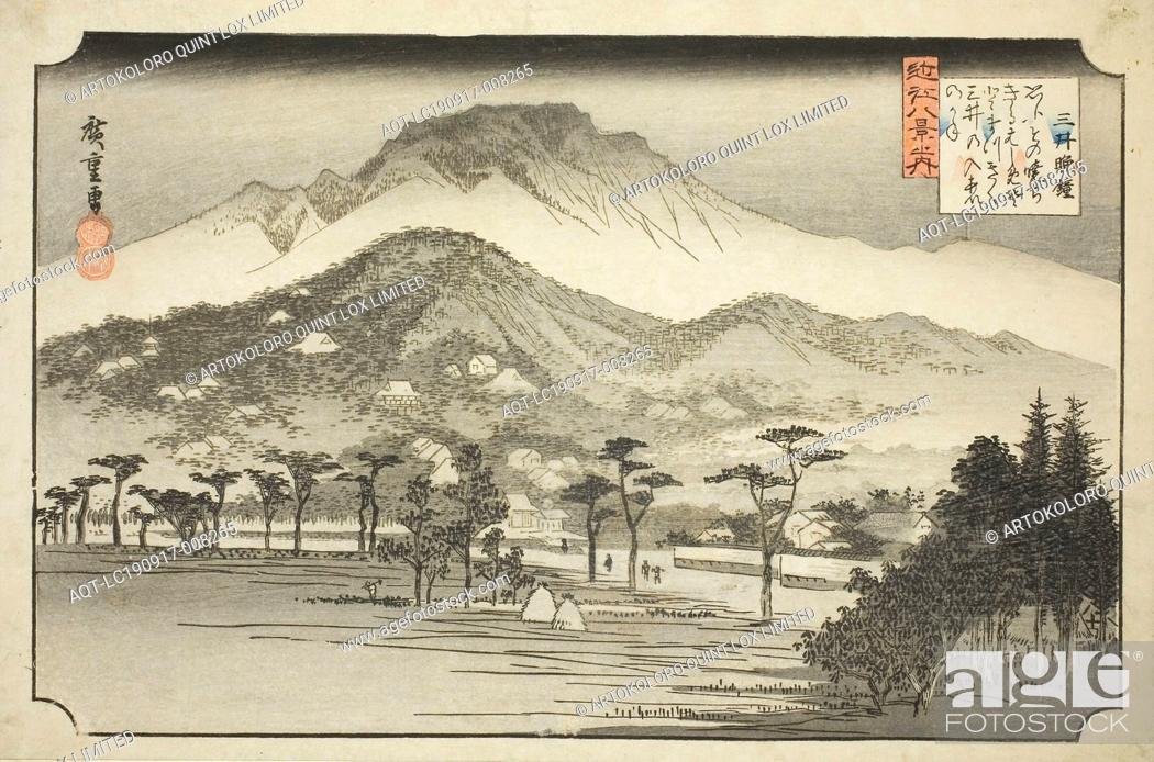 Stock Photo: The Evening Bell at Miidera (Mii no bansho), from the series Eight Views in Omi Province (Omi hakkei no uchi), 1837/38, Utagawa Hiroshige ?? ??, Japanese.