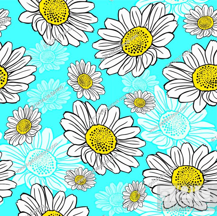 Stock Vector: blossoming white daisies on a blue background, seamless pattern.