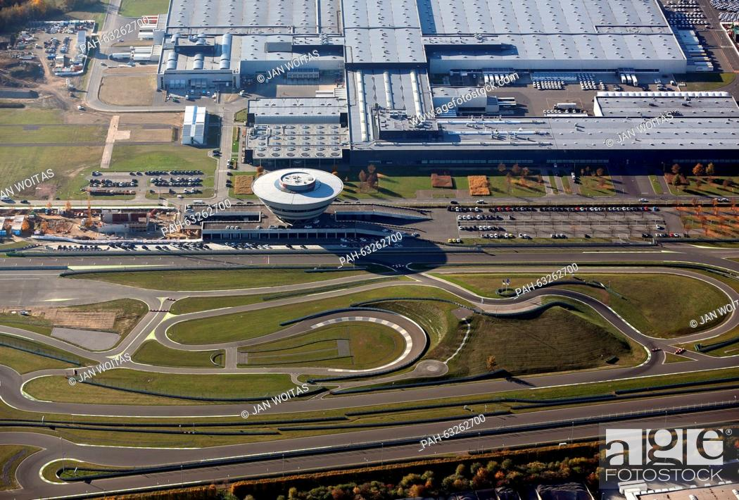 Stock Photo Aerial View Of The Diamond Shaped Porsche Customer Center And Adjacent Test Track At Manufacturing Plant In Leipzig Germany
