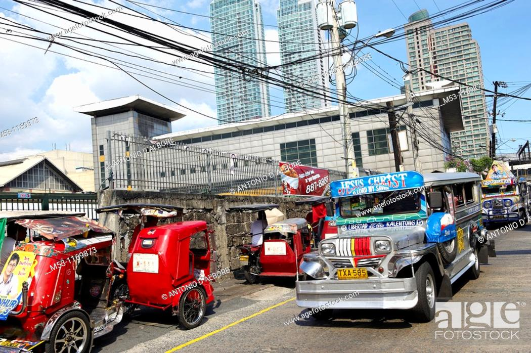 Stock Photo: A Jeepney, the most popular means of public transportation in the Philippines  Mandaluyong City  Metro Manila  Philippines.