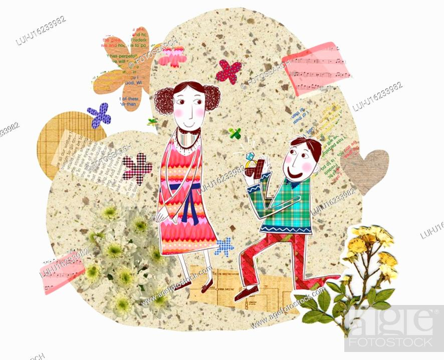Stock Photo: Happiness, woman, event, propose, women, leaf, men.