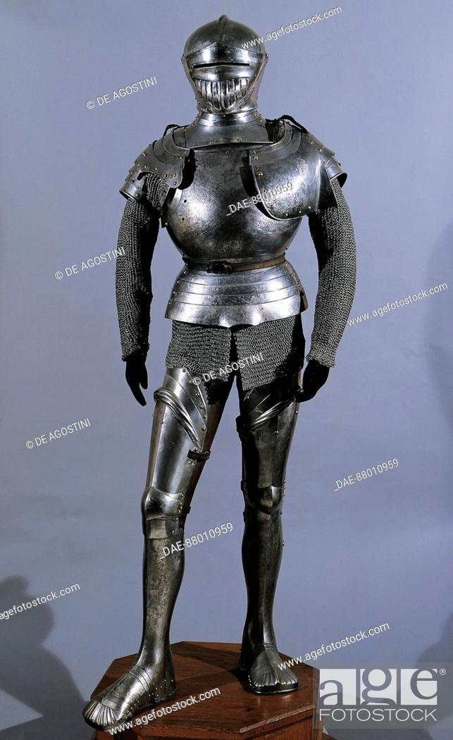Stock Photo: Armour with inlaid steel made for George IV of Puchheim, ca 1515, in the manner of Konrad Seusenhofer of Innsbruck.  Vienna, Neue Burg.