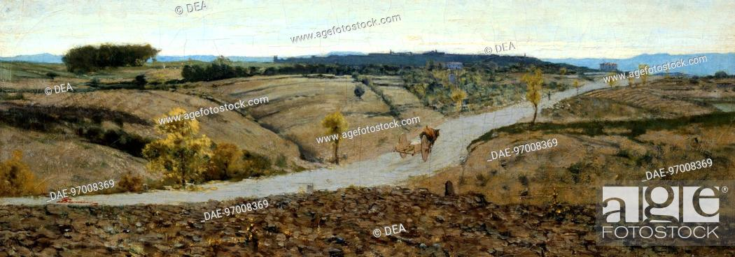 Stock Photo: Siena countryside, by Telemaco Signorini (1835-1901).  Private Collection.