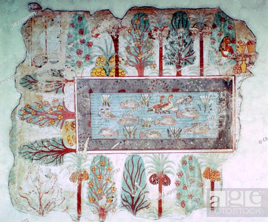 Stock Photo: Egyptian wall-painting of an ornamental pool with fish and ducks in a garden with fruits, from the tomb of Nebamun at Thebes, 14th century BC.