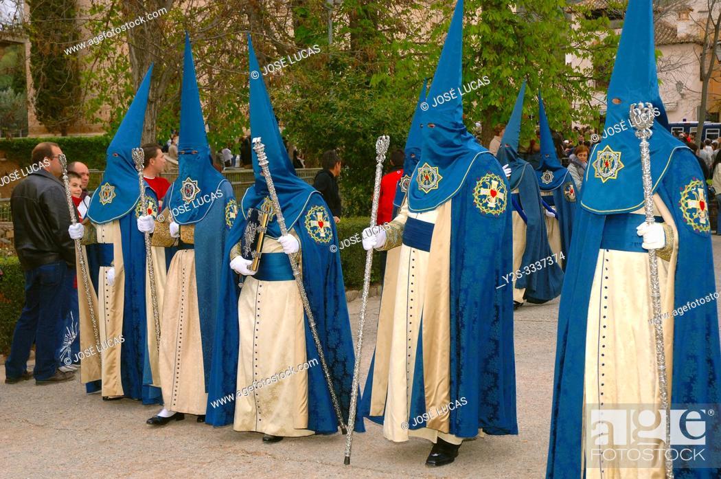 Stock Photo: Holy Week. Brotherhood of La Alhambra (Nazarenes). Granada. Region of Andalusia. Spain. Europe.