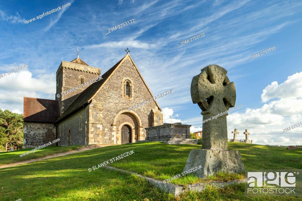 Stock Photo: Autumn afternoon at St Martha-on-the-Hill church, Surrey, England.