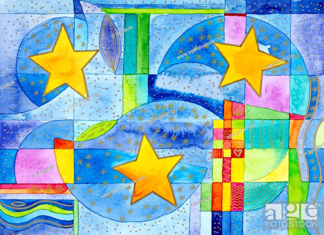 Stock Photo: Watercolour of Heidrun Füssenhäuser, Christmas cheer, three stars in three spheres.