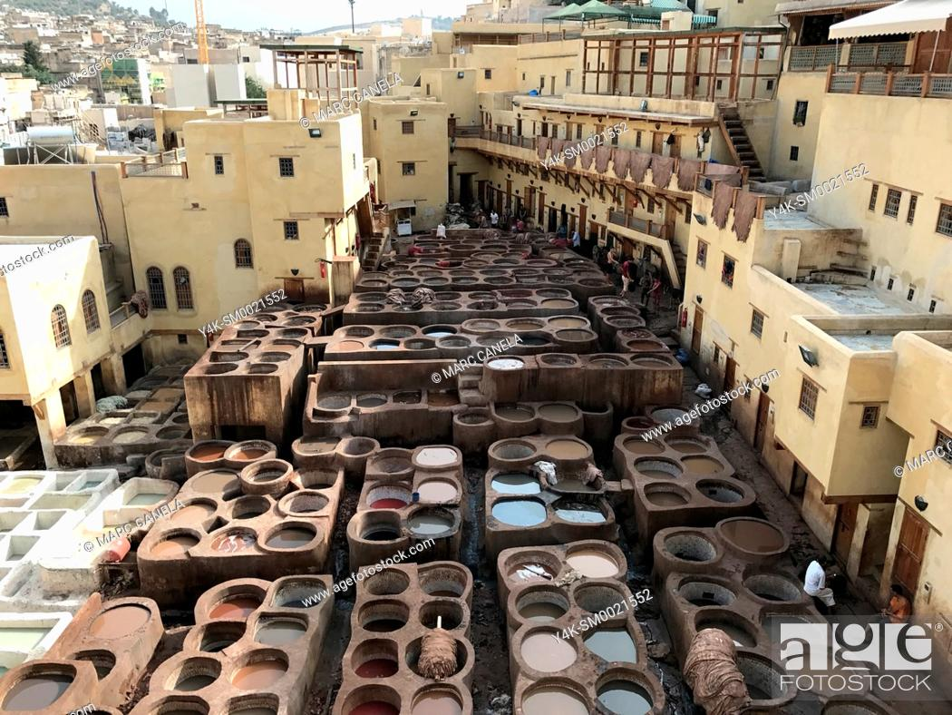 Stock Photo: Africa, morroco traditional processing leather in fes.