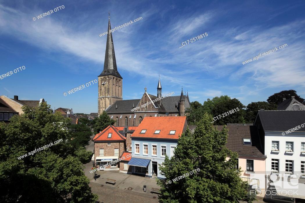 Stock Photo: Germany, Viersen, Niers, Lower Rhine, Rhineland, North Rhine-Westphalia, NRW, Viersen-Suechteln, panorama, catholic parish church Saint Clemens, Late Gothic.