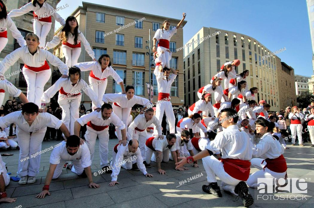 Stock Photo: Castell, human towers. Falcons group. February 12. Celebration of saint Eulalia martyr. 290-303 AD. Canonized 633 AD. Copatron of Barcelona.
