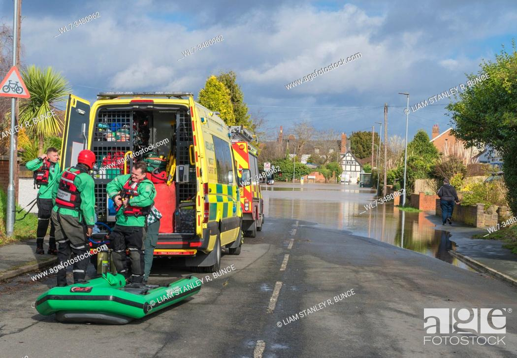 Stock Photo: Emergency services preparing to go into the flood waters on Hinton road Hereford Herefordshire UK. February 2020.