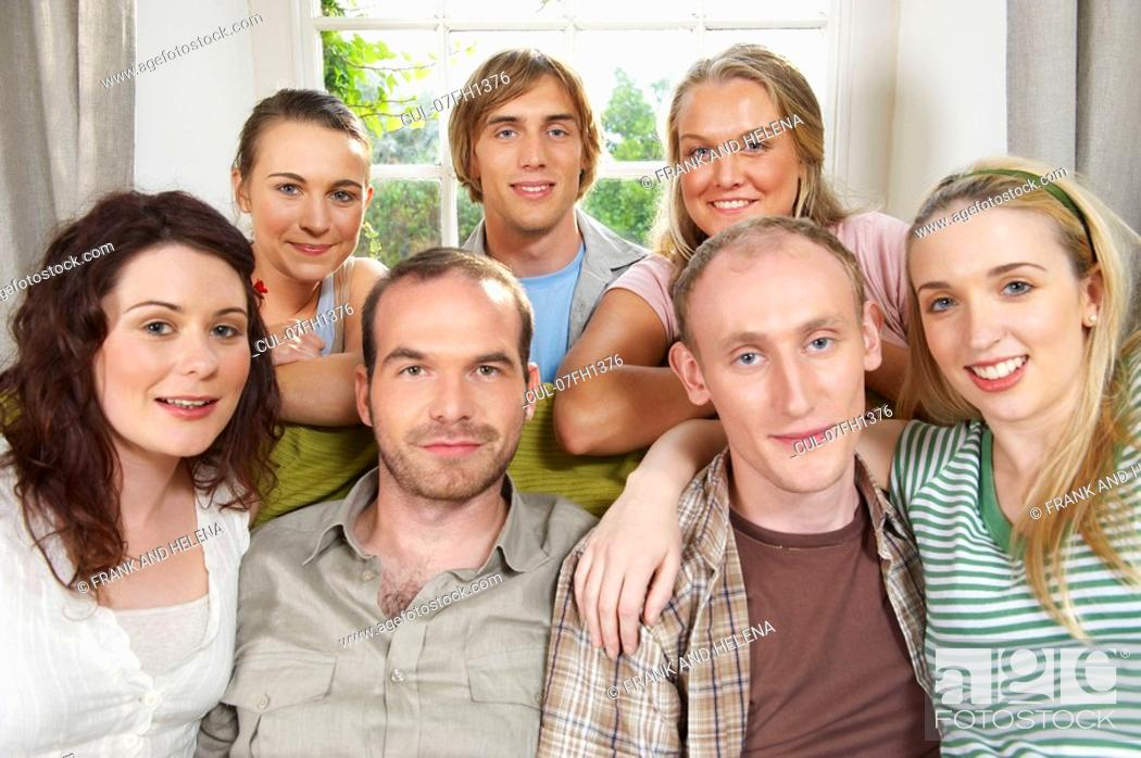 Stock Photo: Group of smiling young people.