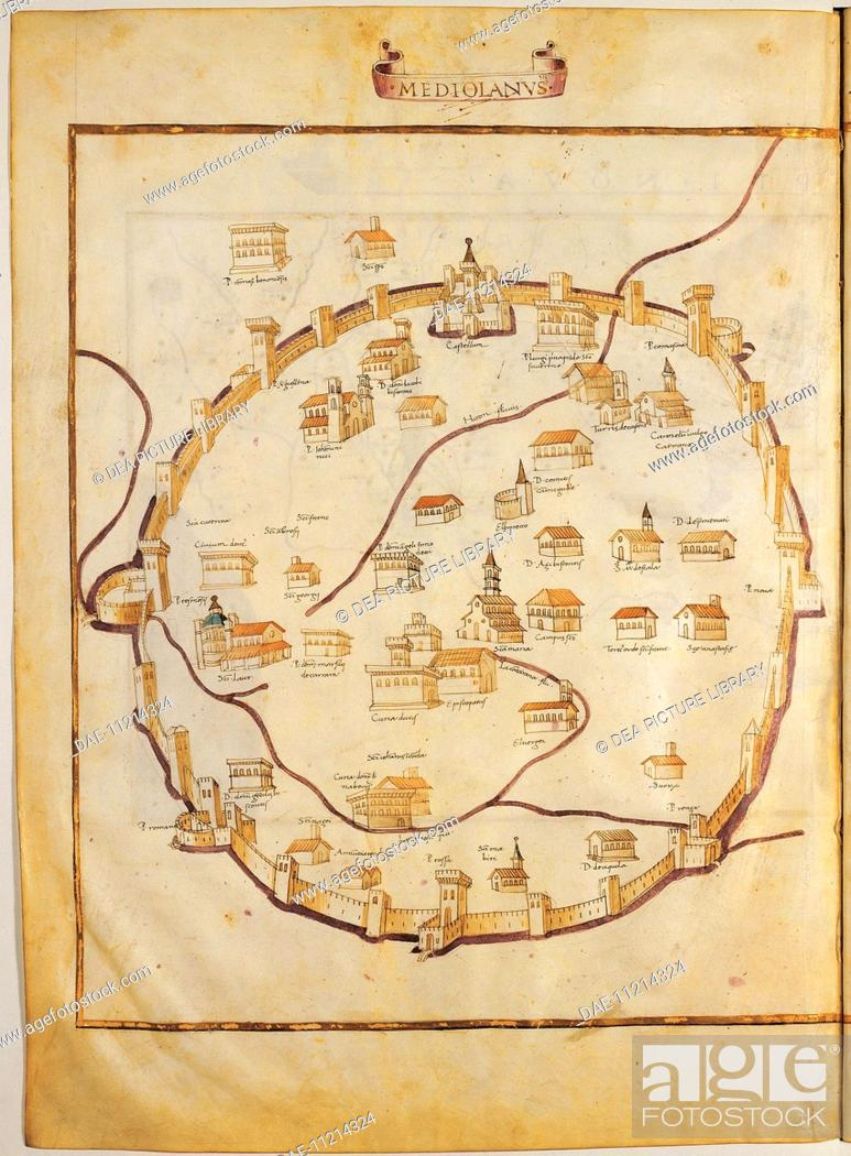 Cartography Italy 15th Century Map Of Milan From Ptolemy S Codex