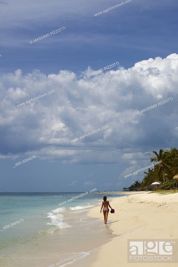 Stock Photo: Girl in the beach of Le Morne Brabant, Mauritius.