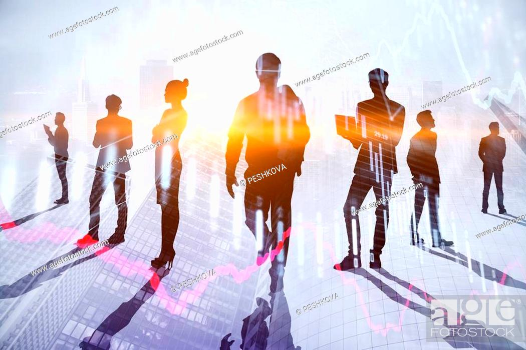 Photo de stock: Teamwork, meeting and finance concept. Businesspeople crowd silhouettes on light city office background. Double exposure.