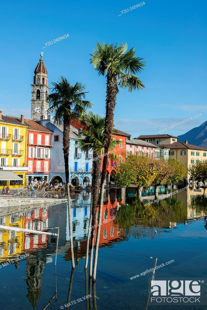 Stock Photo: Ascona flooding in a sunny day in Ticino, Switzerland.