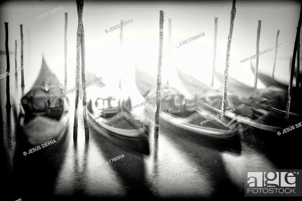 Stock Photo: Gondolas in Venice, Italy.